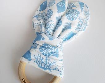 Shell Bunny Ear Teether, Flamingo Teether, Teething Ring, Wooden Teething Ring, Teething