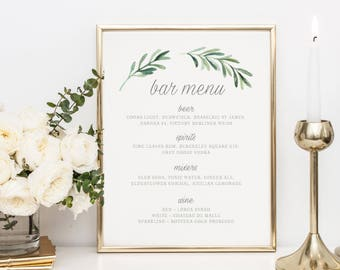 Wedding Bar Menu Template, Drink Sign, Printable Bar Menu Wedding, Wedding Drinks Menu, Bar Menu Sign, Drinks Printable Wedding  - KPC02_317