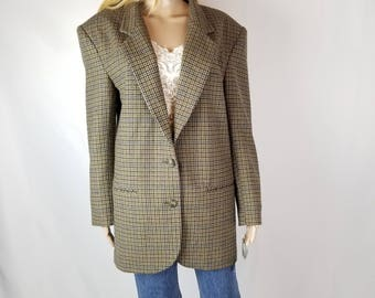 80's HUNT CLUB Oversized Vintage  Women's Wool Jacket Coat//Women's Size M Medium L Large