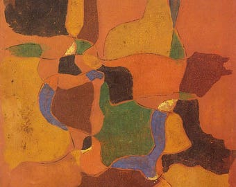 Untitled painting by Shiavax Chavda; Oil on Canvas (1975); Giclee Print