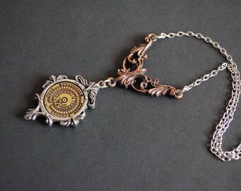 Steampunk art deco time piece necklace