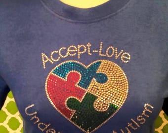 Accept-Love Understand Autism Rhinestone Tee