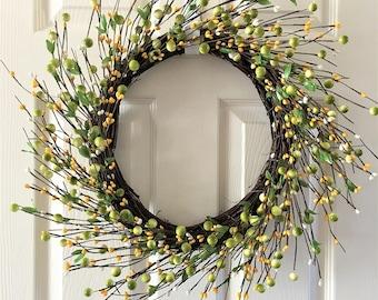 Spring wreath for front door,Berry wreath, Summer wreath for front door,Front door wreath, Everyday wreath