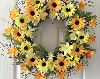 Flower berry wreath, Summer wreath for front door, Flower wreath, Front door wreath, Everyday wreath.