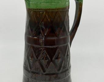 Vintage pitcher vase, 1950's-60's, green, brown, glazed,