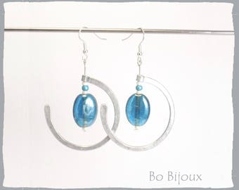 Blue glass pearl and metal earrings
