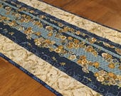 Quilted Blue Floral Table Runner, Elegant Table Runner, Table Quilt, Blue Table Decor, Table Runner Quilt, Asian Inspired Decor