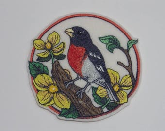 Bird Iron-on Patch. Embroidered Patch. Sew-On Patch. Rose-breasted Grosbeak on Wood Poppies Patch