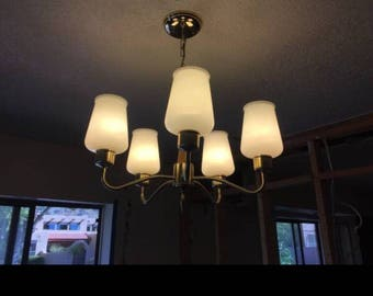 Mid century modern milk glass chandelier. Its a perfect addition to your MCM home!