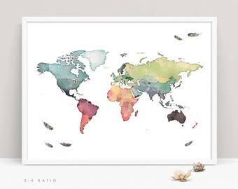 WORLD MAP PRINT, Art Map Print, Watercolor Map of the World with Feathers, Nursery Children Kids World Map Wall Art, Large World Map Poster