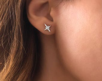 North Star Studs. Starburst Earrings. Cz Star Stud Earrings. Dainty Cz Studs. Minimalist Jewelry. Dainty North Star Studs