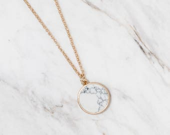 White marble circle Necklace, Natural stone pendant necklace, Dainty necklace, Geometric necklace, Howlite necklace, Bridesmaid necklace