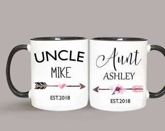 Aunt and Uncle Mug Set, Pregnancy Announcement, New Baby, Uncle Mug, Aunt Mug