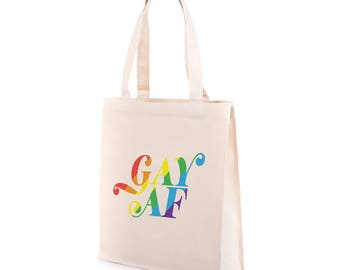 Gay AF Tote Bag | Recycled Canvas Tote | Gay Pride Bag | LGBT Tote | Gay Pride Tote | LGBTQ Tote Bag | Gay Pride Accessory | Equality March