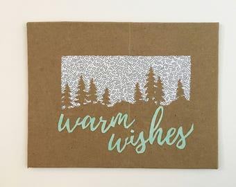 Warm Wishes Holiday Card Handmade Greeting Cards Winter Cards Winter Greeting Card Christmas Cards Handmade upcycled paper recycled paper