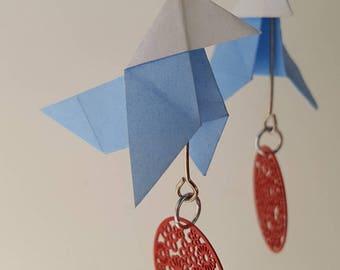 Silver light blue origami earrings
