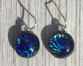 Dichroic Fused Glass Earrings - Small Round Cobalt Blue, Green and Yellow Starburst Texture Earrings