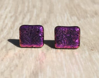 Dichroic Fused Glass Stud Earrings -Pink Dichroic Studs with Solid Sterling Silver Posts