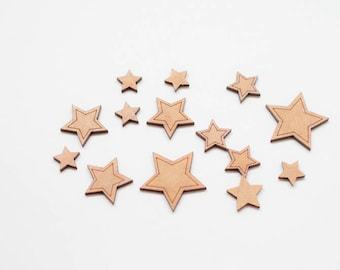 Little Stars - 10 Wooden pieces to decorate or make any type of crafts.