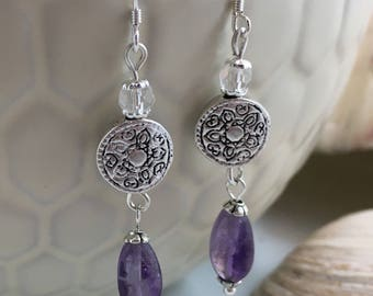 Purple Amethyst Crystal Silver Plated Bead Drop/Dangle Earrings with .925 Silver Wires