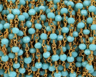 5 Foot 3-4mm -Turquoise Rosary Beaded Chain Gold Over 925 Sterling Silver Rosary style chain -Sold in Wholesale