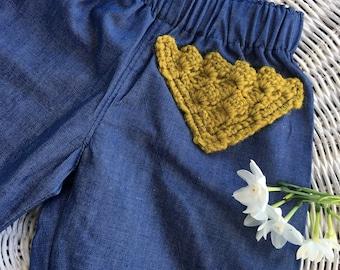 Denim Baby girls Lounge pant, tensel baby jean, cuffed baby jean, crochet pocket feature, Size 000