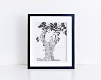 Tree of Life/Spiritual Art/Nature Wall Decor/Tree Illustration Print/Floral Art Print/Tree Art Print/Fashion Wall Art/Abstract Tree Painting