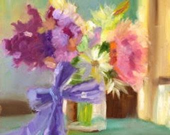Spring Bouquet Oil Print (White Border)