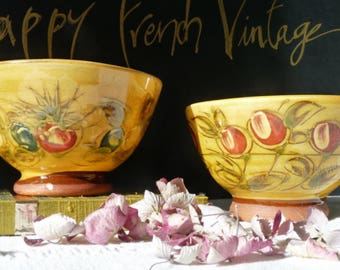 2 French Vintage Cafe au lait Bowls, 1980s Handpainted Stoneware Bowls, Provence Bowls, Vintage Soup Bowls, French Country kitchen