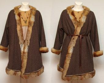 Flap skirt, coat, wool, herringbone, linen, fur, fox, Medieval, Viking, Rus, Slaven, Reenact, Larp