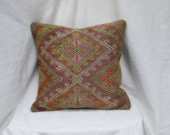 18 INC embroidered kilim pillow Pale kilim pillow Ethnic kilim pillow Kurdish kilim pillow Anatlian kilim pillow sofa pillow bed pillow P-2