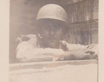 Vintage Military Photo Soldier Uniform Helmet in Bunker Found Antique Vernacular Black & White Photography Art Ephemera Design Decoration