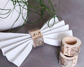 20 Wedding napkin rings, Wood wedding napkin ring, Personalized napkin ring, napkin holder, Rustic napkin ring, Serviette rings, table decor