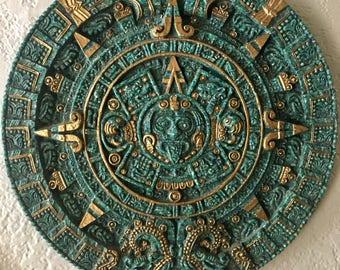 Vintage Jade Green Mayan Calendar