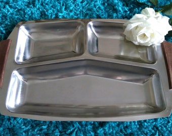 Vintage Stainless Steel Divided Serving Plate/Tray - Ideal For Parties