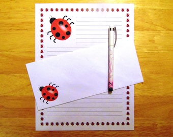 Ladybug - Stationery Set With Envelopes - Snail Mail -  Pen Pal Letters - Lined Stationary Writing Paper
