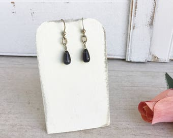 Black Onyx and Silver Tone Wire Wrapped Drop Earrings - Great Everyday Earrings
