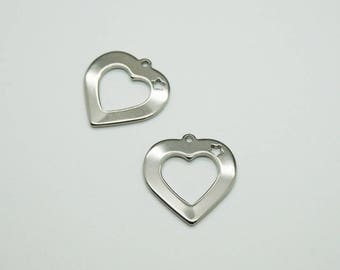 Heart Star charm in silver stainless steel (D47)