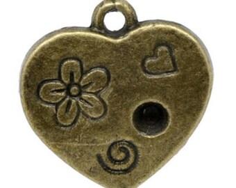 SET of 10 color heart charm pendant bronze (R11)
