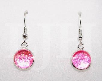 Handmade Pink Glitter Glass Cabochon Dangle Drop Hook Earrings