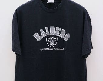 Vintage RAIDERS The Silver And Black For Life NFL National Football League Black Tee T Shirt Size XL