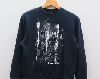 Vintage AIRWALK Streetwear Black Pullover Sweater Sweatshirt Size L