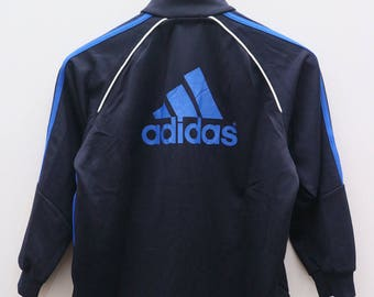 Vintage ADIDAS Triline Big Logo Sportswear Black Zipper Training Jacket Size S