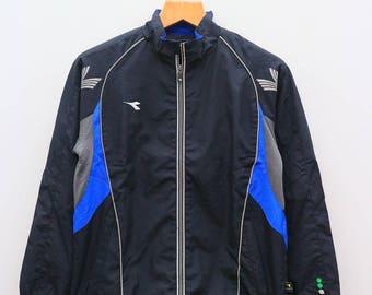 Vintage DIADORA Sportswear Black Jacket Windbreaker Size L