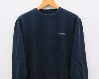 Vintage CONVERSE Small Logo Black Sweater Sweatshirt Size L