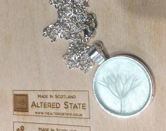 Long Silver Plated Lasercut Pendant