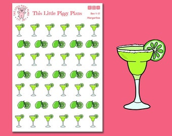 Margaritas Planner Stickers - Limes - Happy Hour Stickers - Adult Beverage - Girls' Night Out Planner Stickers - Drink Stickers - [Bev 1-17]