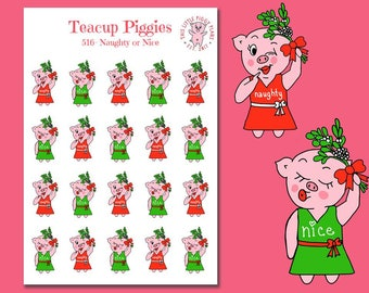 Teacup Piggies - Naughty or Nice Oinkers - Christmas Stickers - Mini Planner Stickers - Mistletoe Stickers - Holiday Stickers - Holly -[516]