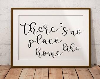 There's No Place Like Home, Digital Print, Home Sweet Home, Home Decor, Living Room Print, Wall Art, Housewarming Gift
