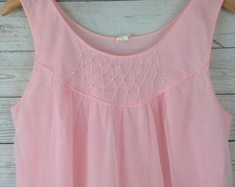 vintage 1950s pink short tulle babydoll nightie lingerie Nightgown Womens SZ L NG15